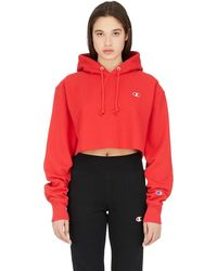 Champion Reverse Weave Cropped Cut Off Hoodie - Red