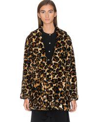 McQ Leopard Faux Fur Coat - Multicolor