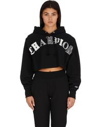 Champion Reverse Weave Old English Crop Cut Off Pullover Hoodie - Black