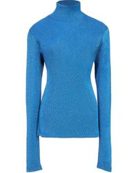 MM6 by Maison Martin Margiela Ribbed Polo Neck Top - Blue