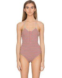 T By Alexander Wang Striped Bodysuit - Gray