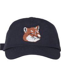 Maison Kitsuné Large Fox Head Cap - Blue