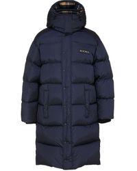 DSquared² Check Wool Long Puffer Coat - Blue