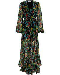 Caroline Constas Vivian Floral Chiffon Wrap Gown - Multicolor