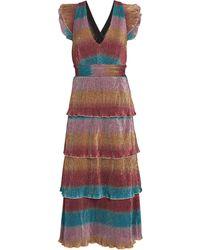 Saylor Marika Striped Plissé Midi Dress - Multicolor