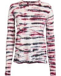 Proenza Schouler - Crewneck Long-sleeve Tie-dye Cotton T-shirt - Lyst
