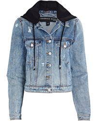 Veronica Beard Cara Hooded Denim Jacket - Blue
