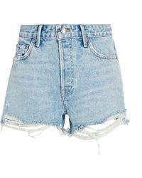 GRLFRND Helena Cut-off Denim Shorts - Blue