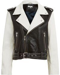Ganni - Heavy Grain Leather Biker Jacket - Lyst