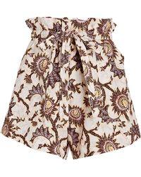 A.L.C. Malcom Floral Poplin Paperbag Shorts - Multicolour