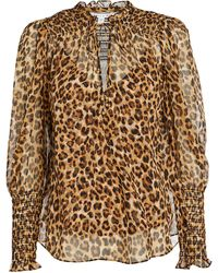Veronica Beard Jaz Silk Leopard Blouse - Brown