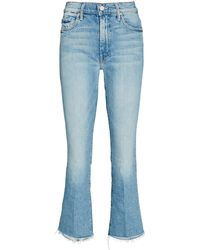 Mother The Insider Crop Step Fray Jeans - Blue