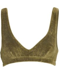DONNI. Terry Cotton-blend Bralette - Green