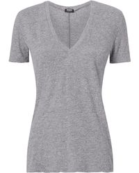 Monrow - Grey Oversized V-neck Tee - Lyst