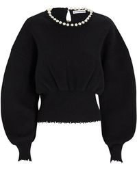 Alexander Wang Pearl Necklace Wool-cashmere Sweater - Black