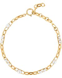 Elizabeth Cole Irene Pearl Chain Necklace - Metallic