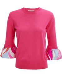 Emilio Pucci - Ruffle Sleeve Pink Top - Lyst