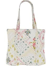 LoveShackFancy Henderson Quilted Floral Cotton Tote - White