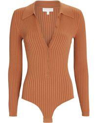 Ronny Kobo Cyndie Rib Knit Polo Bodysuit - Brown