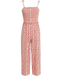 Paloma Blue Pearl Crepe Tie Shoulder Jumpsuit - Red