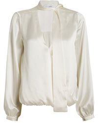 Intermix Cadence Silk Charmeuse Tie Neck Blouse - White