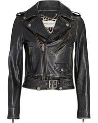 Golden Goose Distressed Leather Moto Jacket - Black