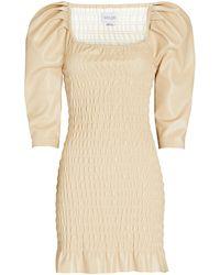 Saylor Justina Smocked Vegan Leather Dress - Natural