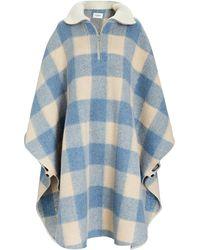 Étoile Isabel Marant Gabin Checked Wool-blend Cape - Blue