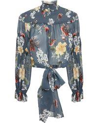 Nicholas - Slate Floral Smocked Tie Waist Blouse - Lyst