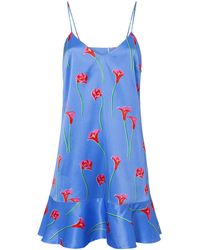 Caroline Constas Tina Floral Slip Dress - Blue