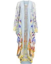 Camilla Long Draped Kimono - Blue