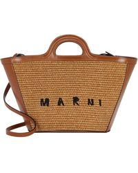 Marni Logo Raffia Tote Bag - Brown