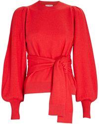 Ulla Johnson Rubi Tie-waist Merino Wool Sweater - Red
