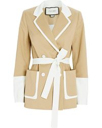 Alexis Baccio Belted Double-breasted Blazer - Natural
