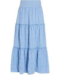 Intermix Patrice Tiered Midi Skirt - Blue