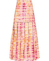Alexis Edita Watercolor Linen Midi Skirt - Pink