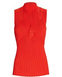 Acler Collins Twisted Rib Knit Top - Red