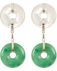 Loren Stewart Jade And Pearl Drop Earrings - Green
