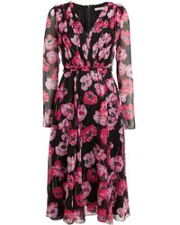 Jason Wu Collection Poppy Floral Crinkle Chiffon Dress Black/pink Floral 2