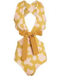 Silvia Tcherassi Garland Tie Front One-piece Swimsuit - Multicolor