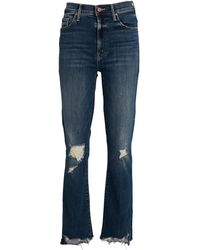 Mother The Insider Crop Step Chew Jeans - Blue