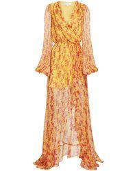 Caroline Constas Marigold Abstract-printed High-low Gown - Orange