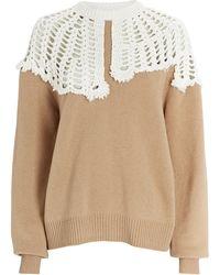Tibi Lana Crochet Collar Wool Sweater - Natural