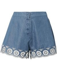 Nightcap - Lace Trim Chambray Shorts - Lyst