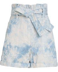 A.L.C. Davidson Tie-dye Paperbag Shorts - Blue