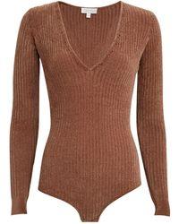 Ronny Kobo Talma Chenille Knit Bodysuit - Brown
