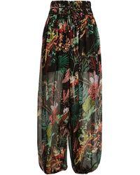 PATBO Oasis Tropical Chiffon Beach Pants - Black