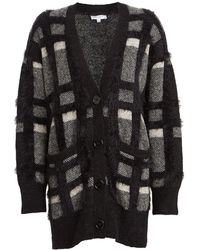 Equipment Cisse Wool-blend Plaid Cardigan - Grey