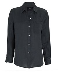 Rails Hadley Cotton Gauze Button-down Shirt - Black