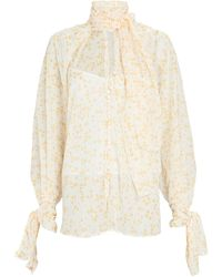 Acler Cathedral Tie-neck Chiffon Blouse - White